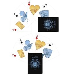 Four aces playing cards noir Mafia set vector image