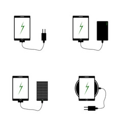 icons of chargers for mobile phones vector image