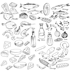 meatfish and cheese food set vector image vector image