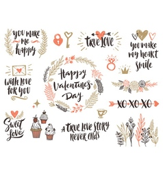 Valentines day hand drawn set vector image vector image