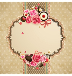 Valentines day vintage lace card vector