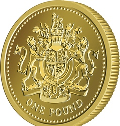 British money gold coin one pound vector image vector image