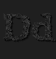 Decorated letter d vector image