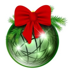 new year ball with red bow vector image vector image