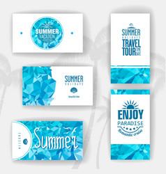 Set of geometric summer visiting card vector