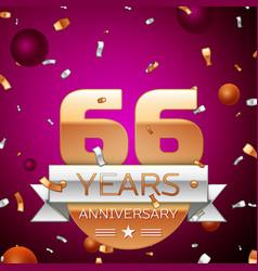 Sixty six years anniversary celebration design vector