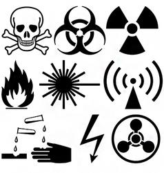 warning and hazard symbols vector image