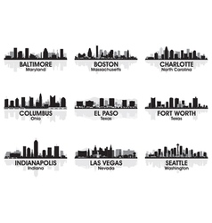 american cities skyline set 2 vector image