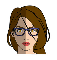 pretty girl with beautiful hair and attractive vector image vector image