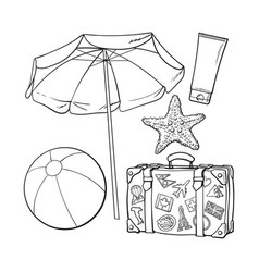 summer time vacation attributes - umbrella vector image