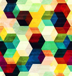 vintage rhombus seamless pattern with grunge vector image vector image