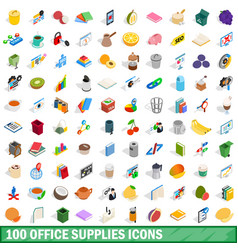 100 office supplies icons set isometric 3d style vector
