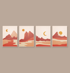 abstract landscape composition art with sun vector image