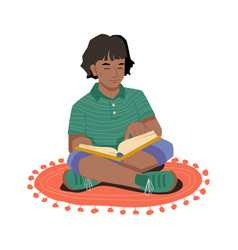 afro american girl with book sitting on carpet vector image