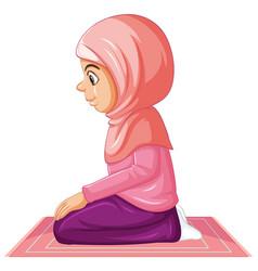 Arab muslim girl in traditional pink clothing vector