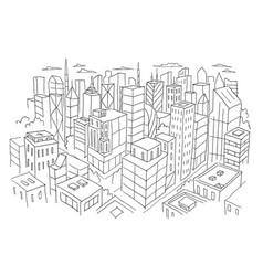Big city view from the top sketch hand drawn vector