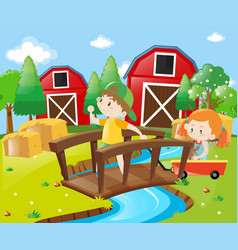 Boy and girl in the farmyard vector