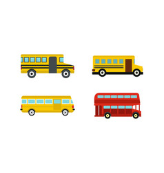 bus icon set flat style vector image