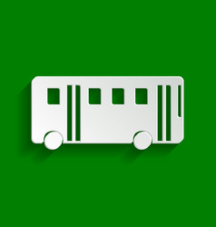 bus simple sign paper whitish icon with vector image
