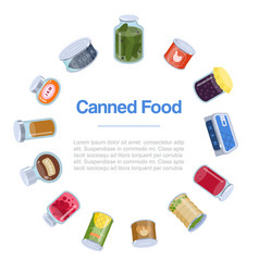 canned food goods in circle poster vector image