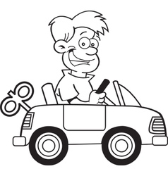 Cartoon boy driving a toy car vector
