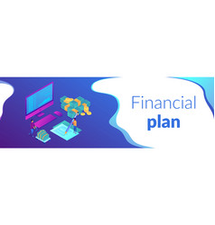 cash flow statement isometric 3d banner header vector image