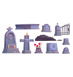 Cemetery set graveyard tombstone metal gate vector