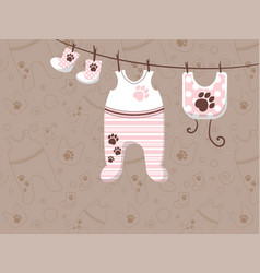 Childrens clothes are hung on ropes advertising vector