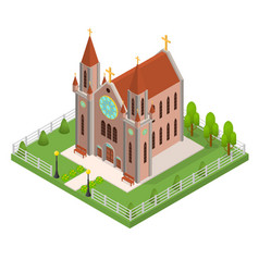 Christian catholic church concept 3d isometric vector