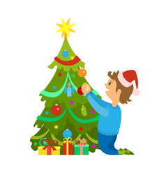 christmas holidays new years eve tree decoration vector image