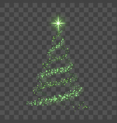 christmas tree on transparent background green vector image