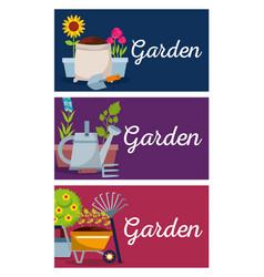 collection banner garden tree flowers wheelbarrow vector image