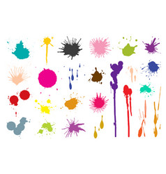 colorful paint stains set color splatter high vector image