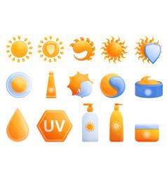cosmetic sun icons set cartoon style vector image