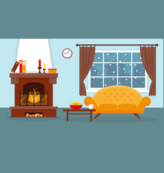 Cozy living room with fireplace and furniture vector