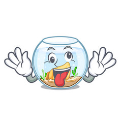 crazy fishbowl in a funny on cartoon vector image