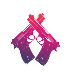Crossed modern pistols guns over white vector