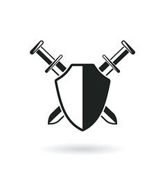 Crossed swords with shield vector