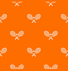 crossed tennis rackets and ball pattern seamless vector image
