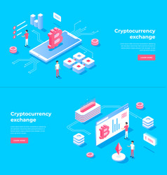 cryptocurrency exchange and blockchain isometric vector image