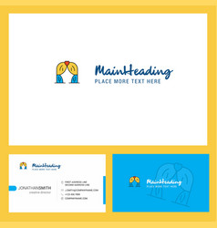 curtain logo design with tagline front and back vector image