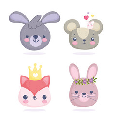 cute animals little faces mouses fox rabbits vector image