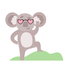 Cute koala bear in heart shaped glasses funny vector