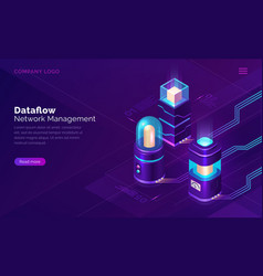 data flow network manager isometric concept vector image