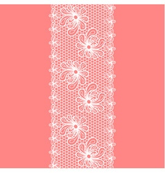 Decorative flower lacy border on pink background vector