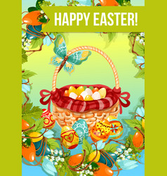 Easter egg hunt cartoon poster or greeting card vector