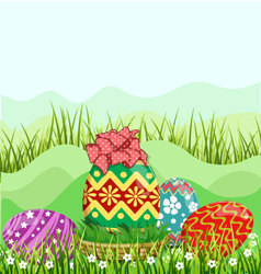 Easter eggs hunt hiding in the grass vector image
