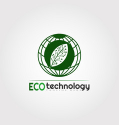 Eco technology logo design with leaf and earth vector