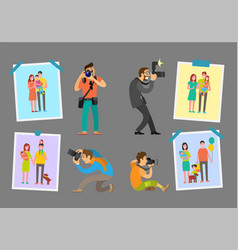 Family photographers with cameras taking photos vector