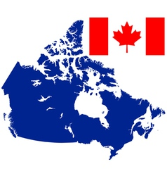 Flag and map of canada vector